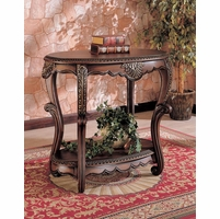 Warm Brown Finish Storage Accent Entry Way Table