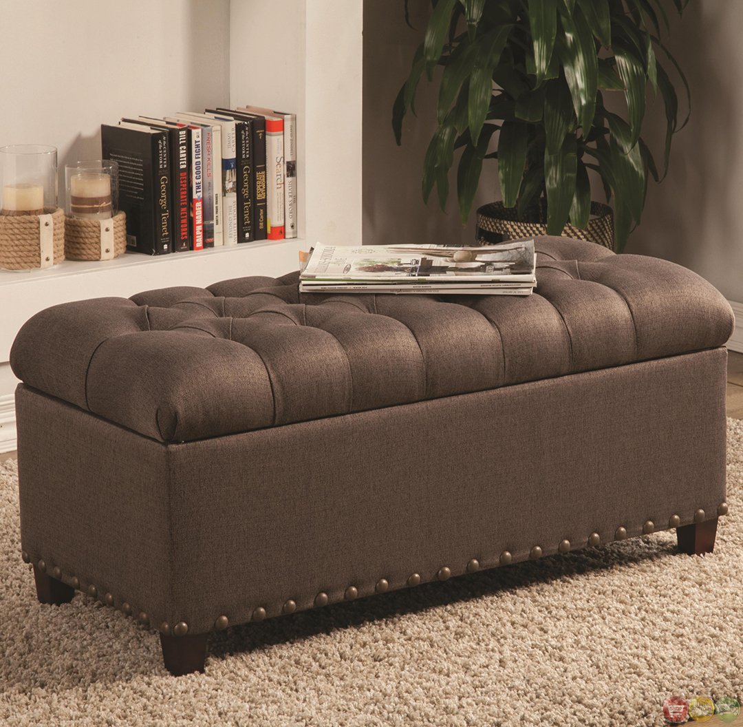 Fabric Storage Bench Microfiber Button Tufted Bedroom Seat: Warm Brown Tone Fabric Ottoman Tufted Storage Bench