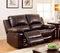 Watkins Casual Dark Brown Top Grain Leather Loveseat With Dual Recliners