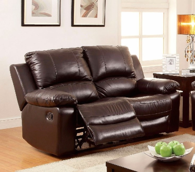 Casual Dark Brown Top Grain Leather Loveseat With Dual Recliners