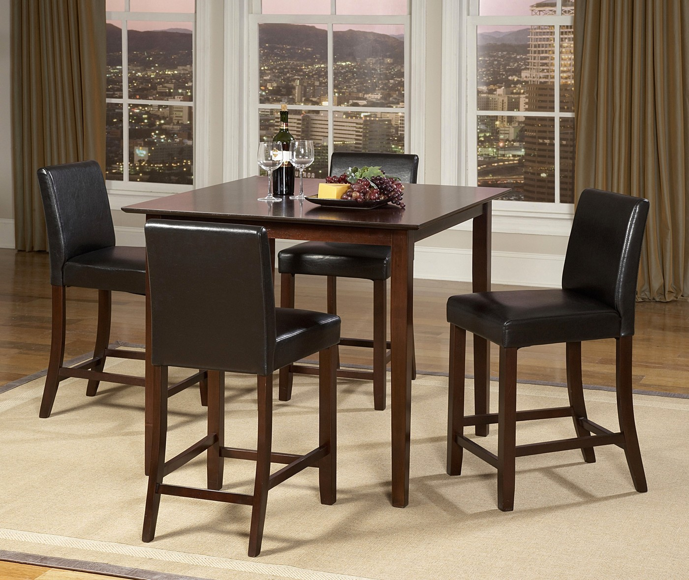 Piece Counter Height Dining Room Set Square Table Cherry Finish