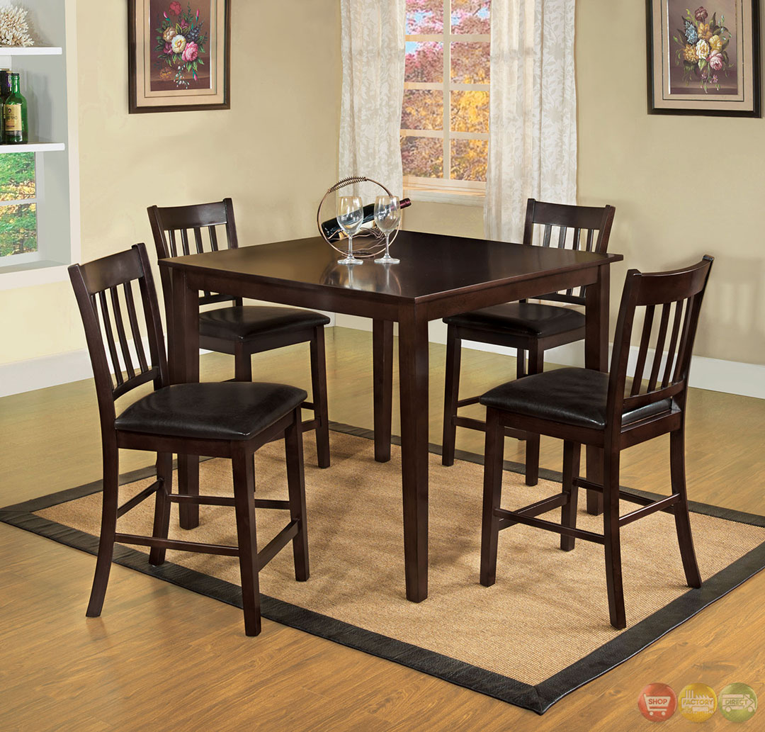 Counter Height Dining Set : West Creek II Transitional Espresso Counter Height Dining Set with ...