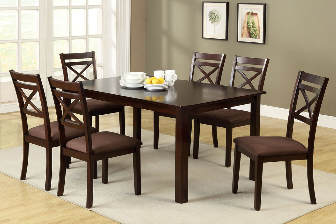 Weston III Contemporary Espresso Casual Dining Set with  : weston iii contemporary espresso casual dining set with padded microfiber chair cm3400t 7pk 19 from shopfactorydirect.com size 1080 x 719 jpeg 161kB