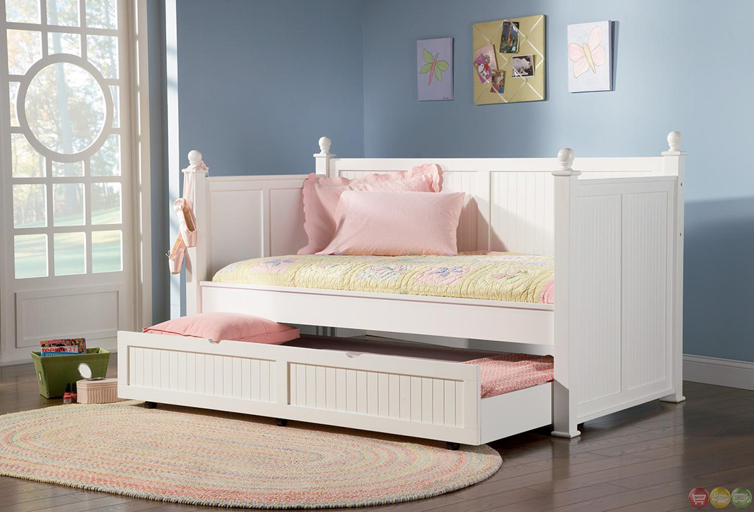 White Twin Daybed With Pull Out Trundle Bed