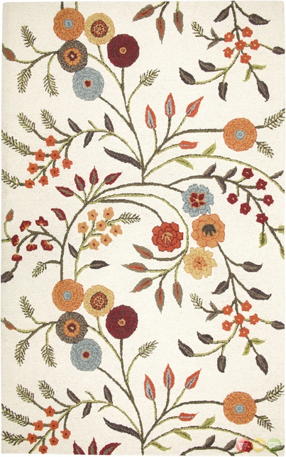 Rizzy Rugs White Floral Hand Tufted Area Rug Dimensions DI1466