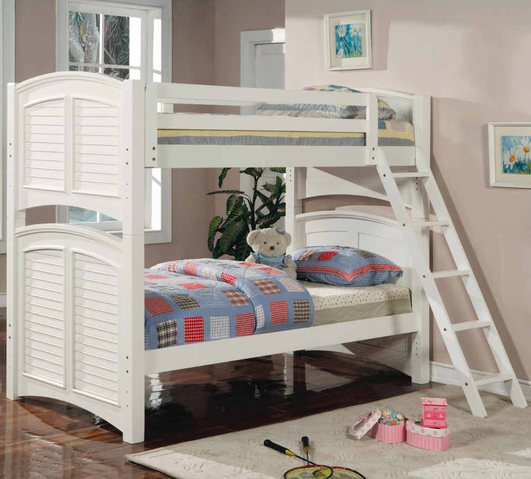 white wooden twin twin twin full size convertible bunk bed coaster