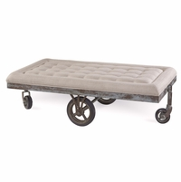 Williamsburg Beige Tufted Factory Cart Cocktail Table with Distressed Finish