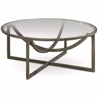 Williamsburg Glass Top Grey Metal Cocktail Table with Distressed Finish