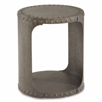 Williamsburg Grey Boiler Plate Metal Riveted End Table