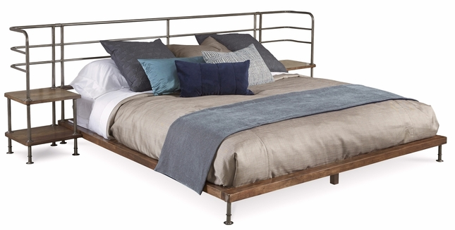 Williamsburg Industrial Platform King Bed with Two Built-In Nightstands