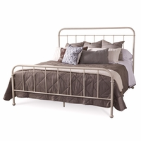 Williamsburg King Metal Frame Bed with White Distressed Finish