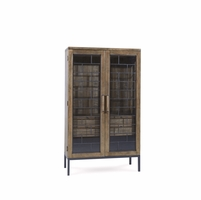 Williamsburg Rustic Natural Wood Display Cabinet with Distressed Finish