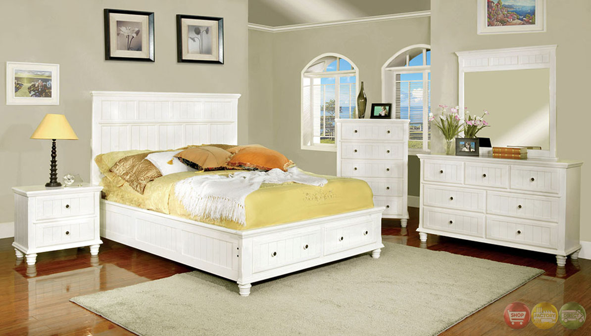 Cottage White Storage Bedroom Set With 2 Drawers In Footboard CM7690WH
