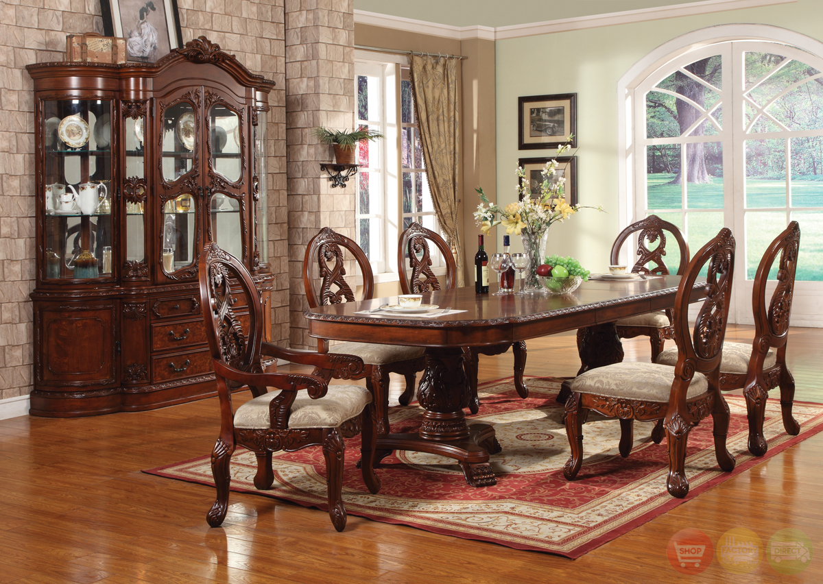 Windham Formal Dining Set Cherry Wood Carved Table amp Chairs