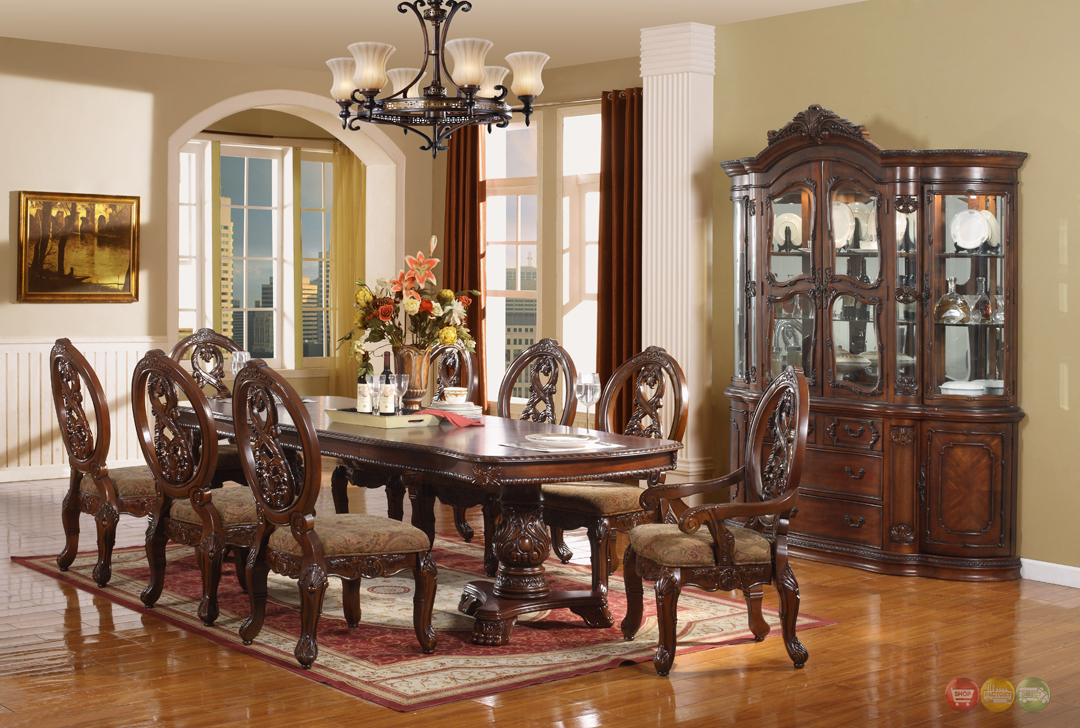 Windham Formal Dining Set Walnut Brown Wood Carved