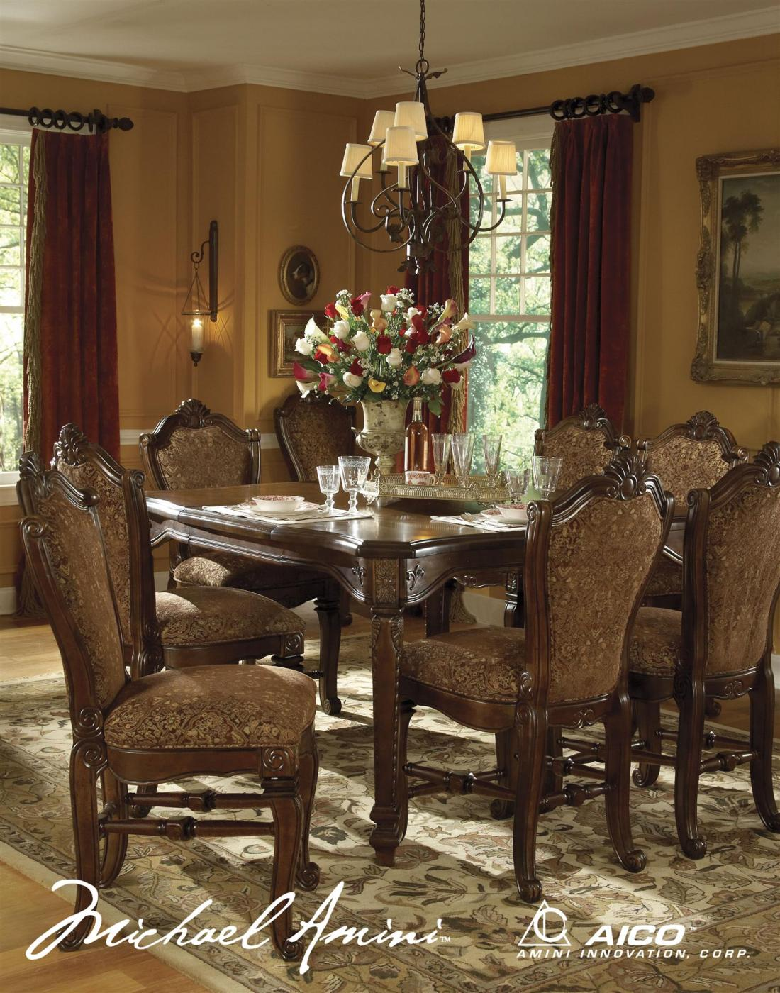 windsor court fruitwood traditional gathering table dining set by aico
