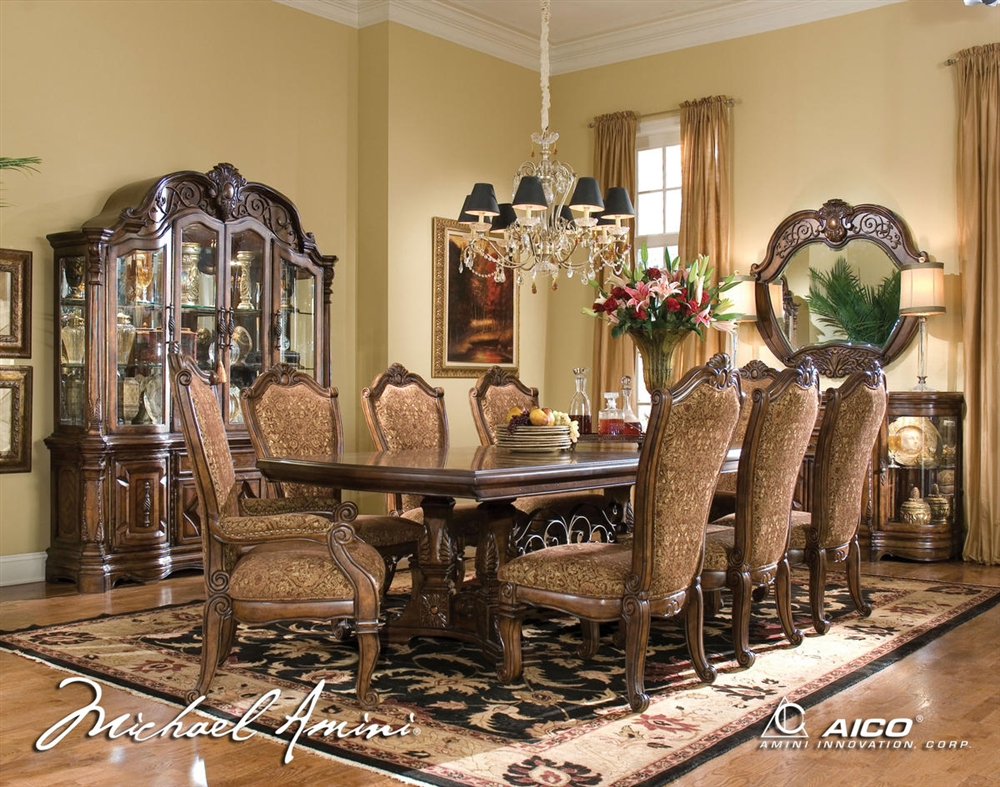 windsor court fruitwood traditional rect table dining set by aico