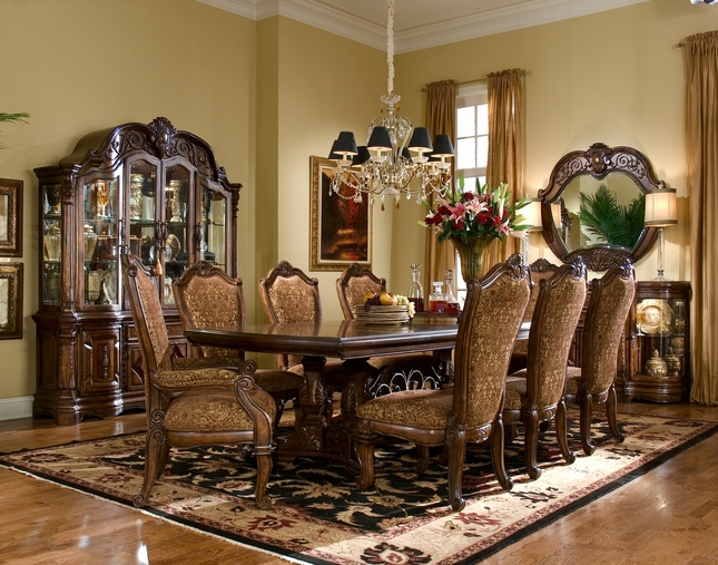 Michael Amini Windsor Court Fruitwood Traditional Rect. Table Dining Set by AICO