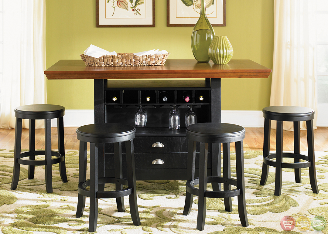 Wine Storage Transitional Casual Dining Furniture Set