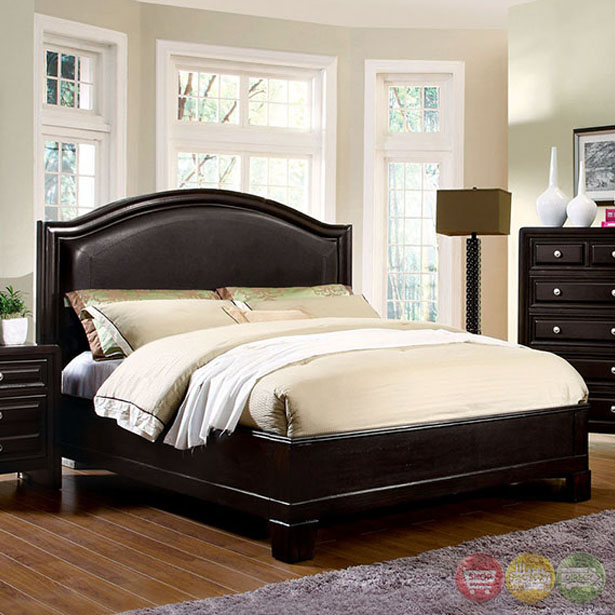 Winsor Contemporary Espresso Platform Bedroom Set With Padded Leatherette Hea