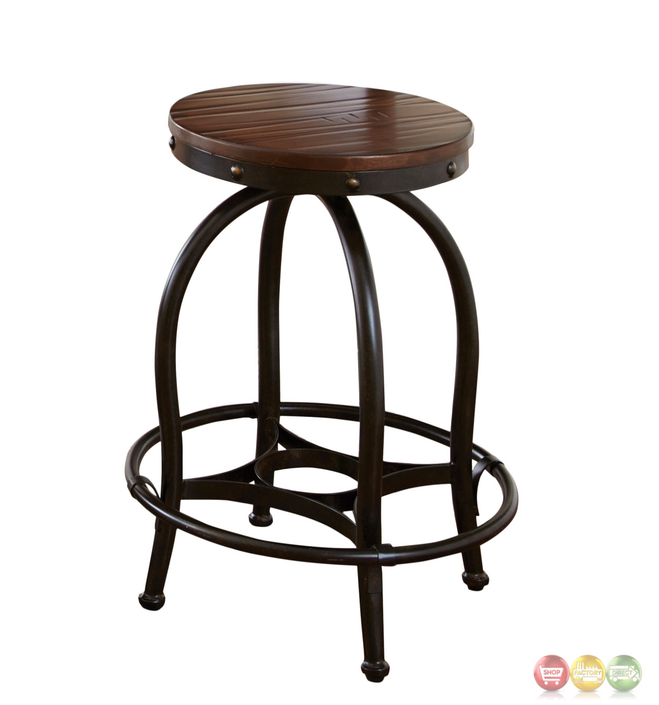 Winston Industrial Counter Height Desk Stool Cherry