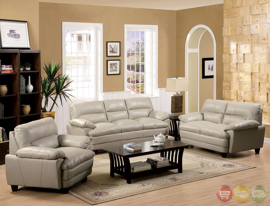 Winston Traditional Light Taupe Living Room Set With Plush Cushions CM6917LT