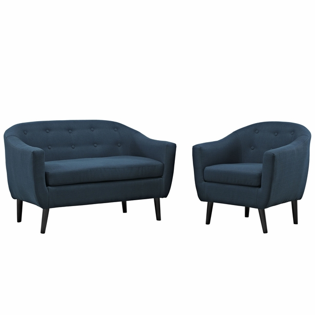Wit Contemporary 2pc Upholstered Living Room Set, Azure