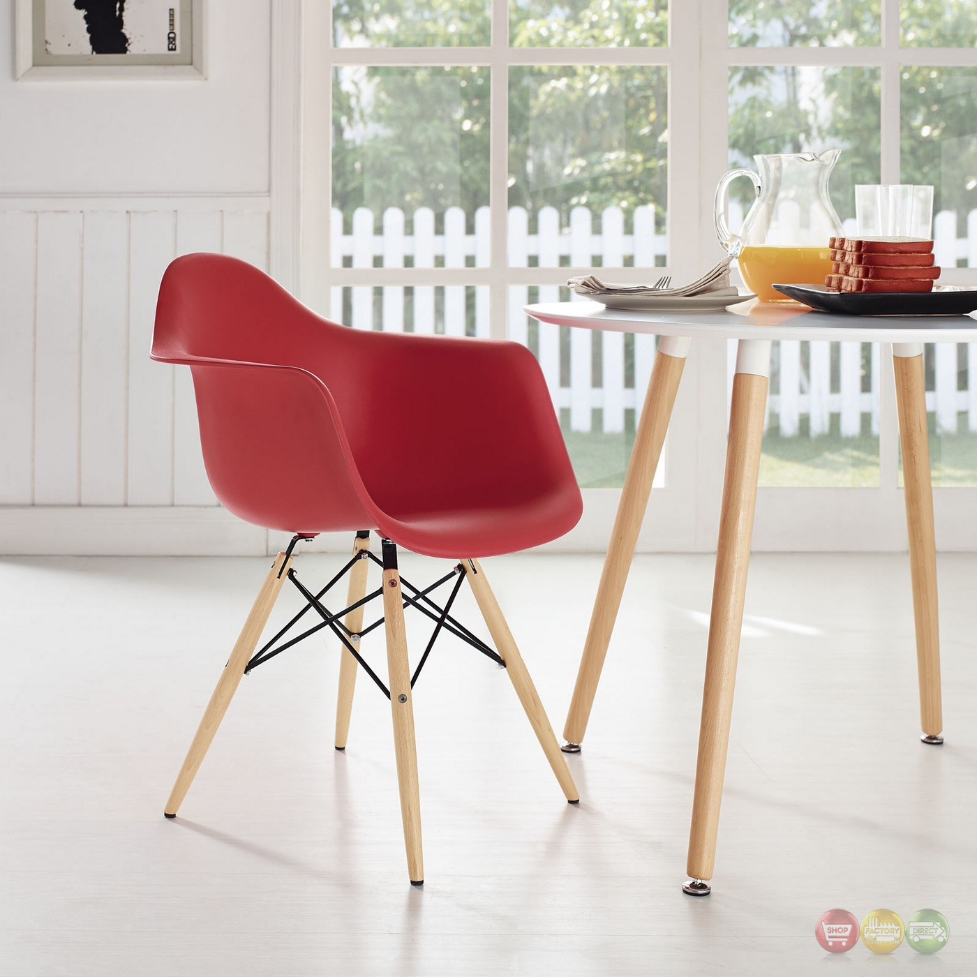 Pyramid Modern Plastic Arm Chair W/ Wood Legs & Steel Accents Red. Full resolution  file, nominally Width 1400 Height 1400 pixels, file with #962830.