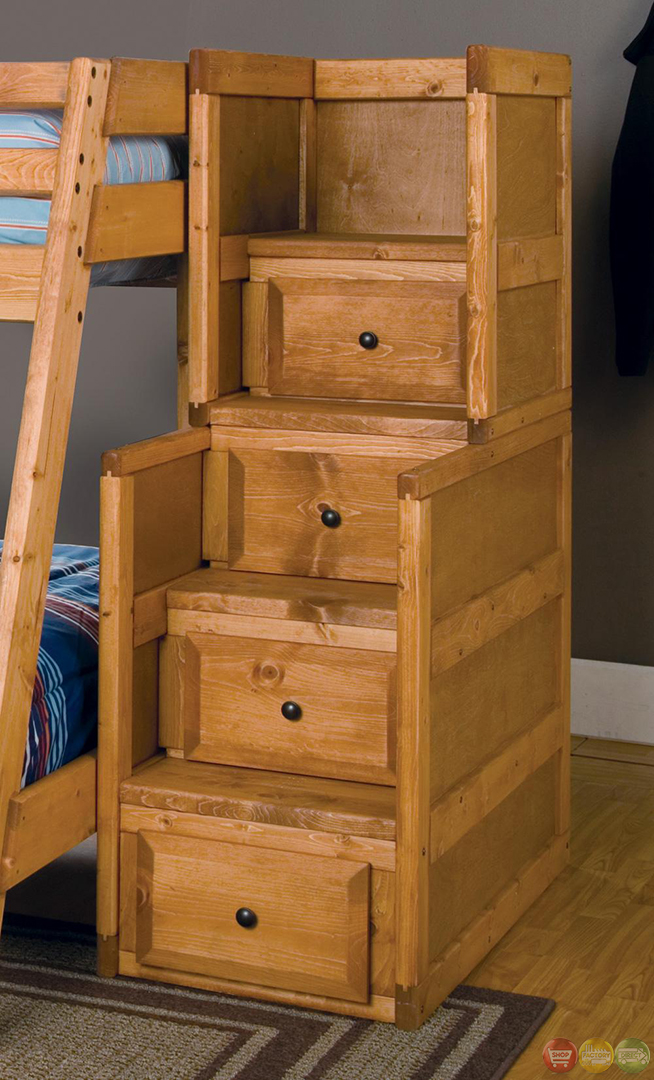 Bed Over Stair Box With Storage And Stairs: Wrangle Full Over Full Bunk Bed With Storage Drawers