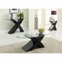 Xtres Contemporary Black Accent Tables Set with High Gloss Lacquer Coating