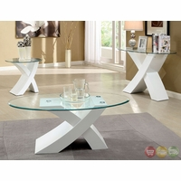 Xtres Contemporary White Accent Tables Set with High Gloss Lacquer Coating CM4370WH
