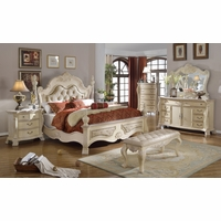 Zachary Antique White Traditional Bedroom w/ Tufted Headboard & Marble Accents