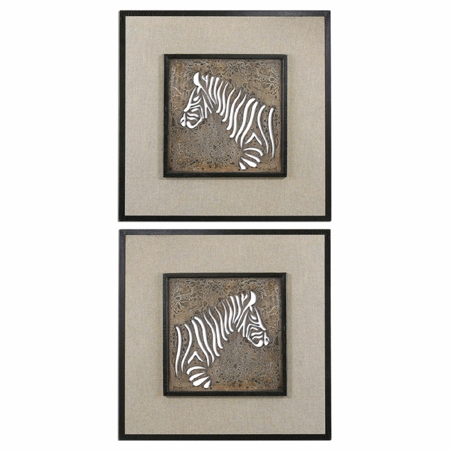 Zebra Squares Traditional Heavily Antiqued Ivory Wall Art