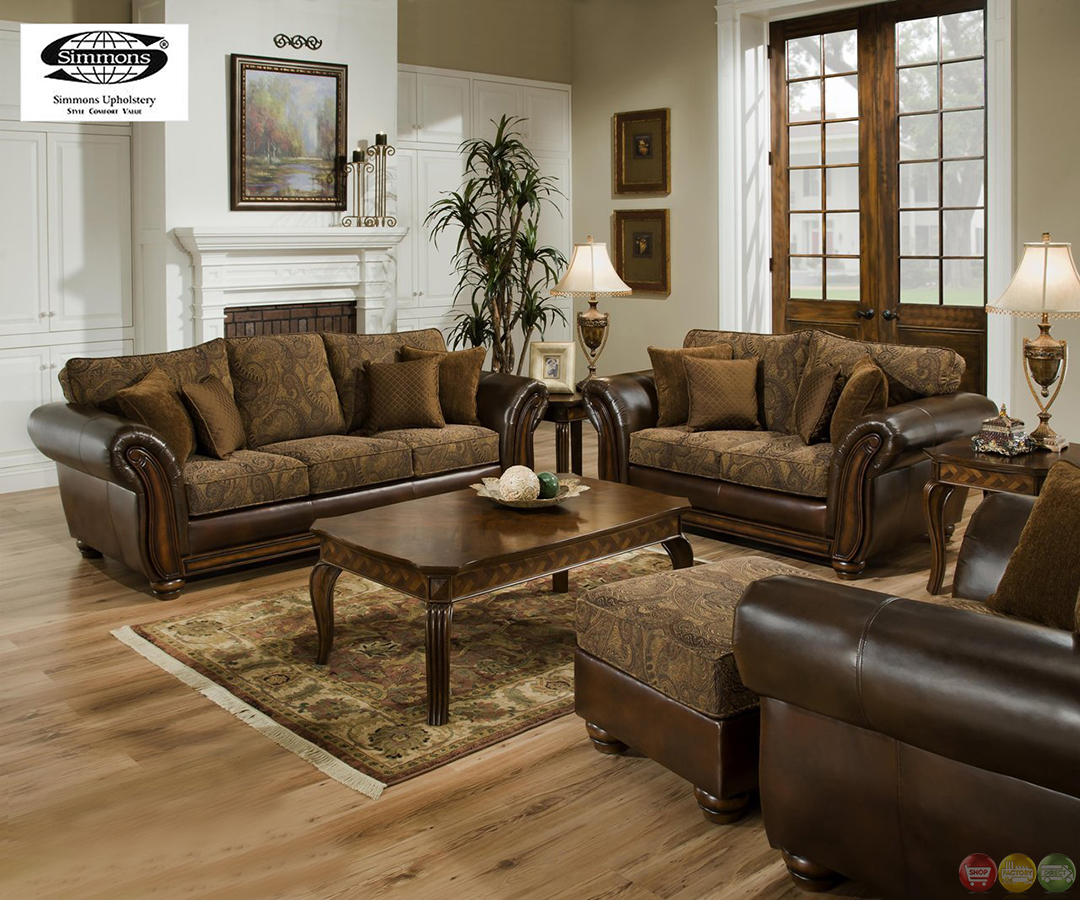 Zephyr Chenille And Leather Living Room Sofa Amp Loveseat Set