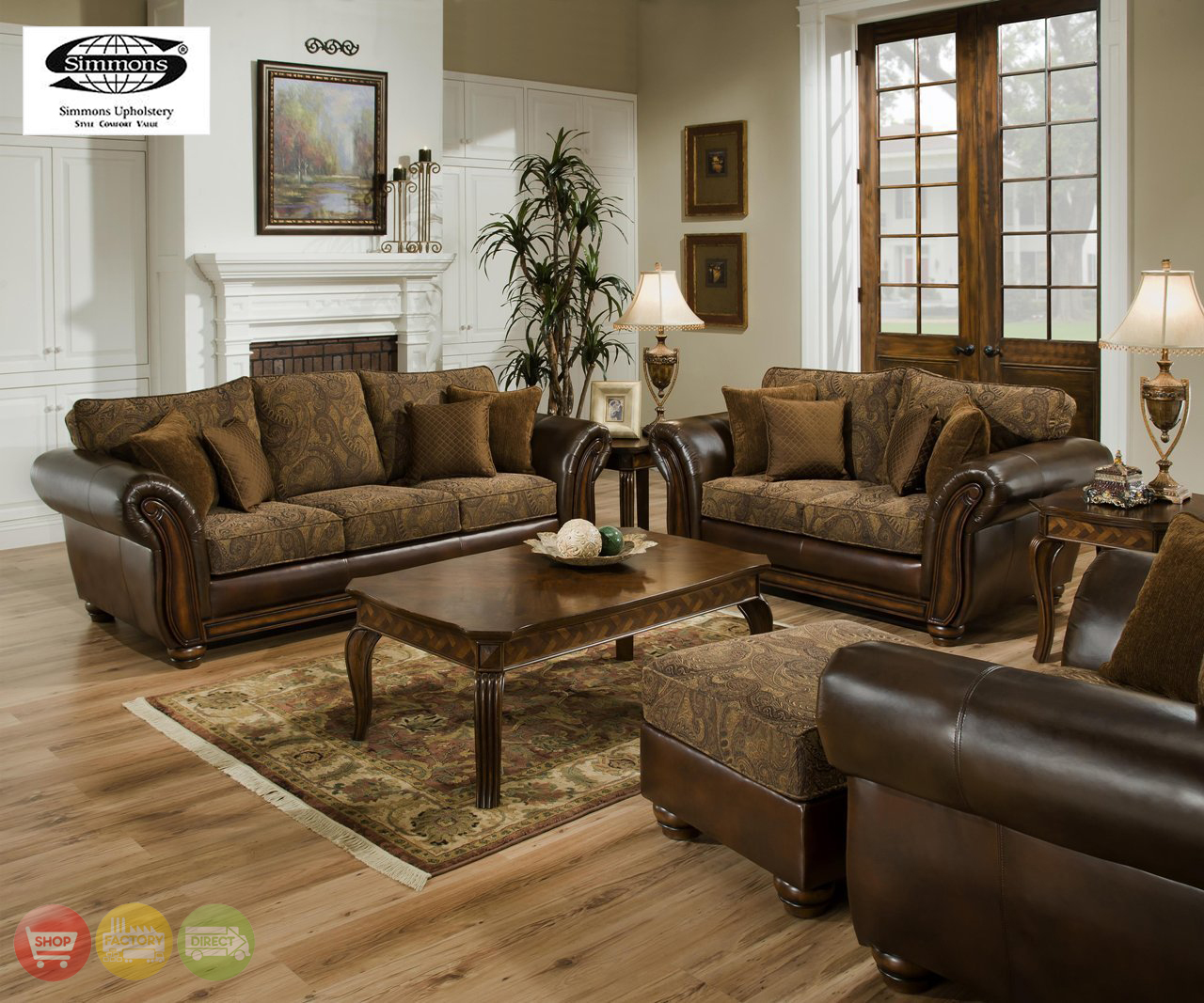 Traditional Sofas Living Room Furniture: Zephyr Chenille And Leather Living Room Sofa & Loveseat Set