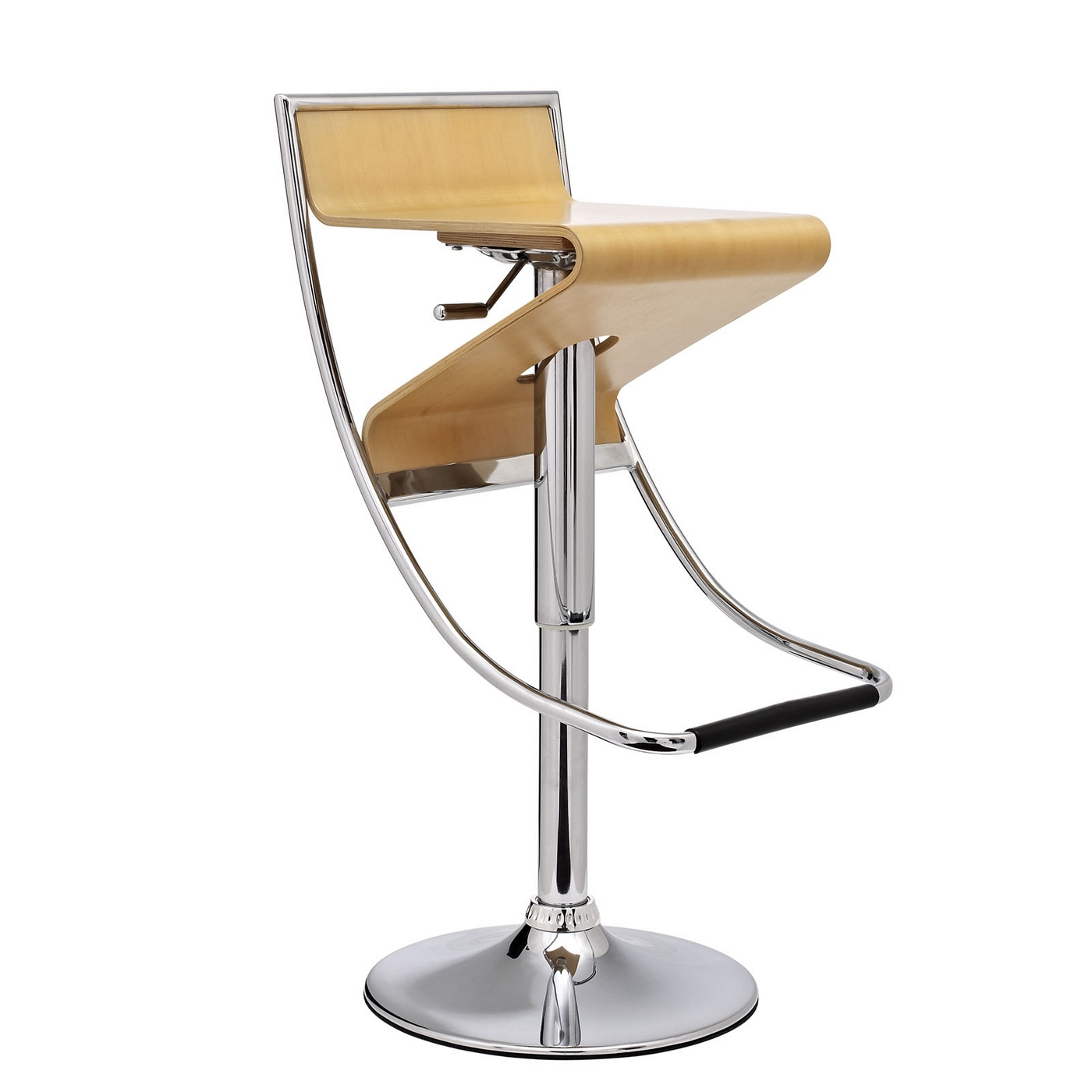 Zig Zag Futuristic Adjustable Wood Panel Bar Stool W