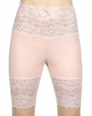 Baby Pink Wide Waistband Stretch Lace Shorts