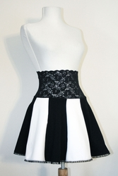 Black and White Lace Waist Circle Skirt