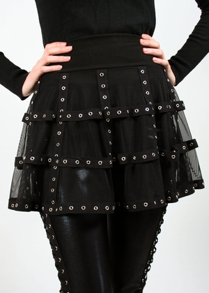 Black Mesh and Grommet Cage Skirt