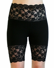 Black Scalloped Stretch Lace Shorts
