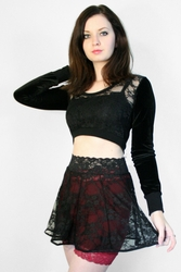 Black Stretch Lace Circle Skirt
