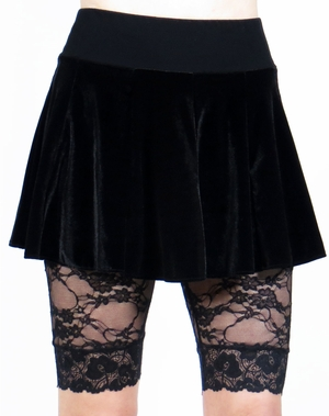 Black Stretch Velvet Circle Skirt