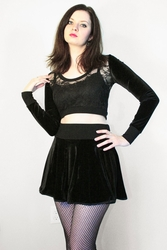 Black Velvet and Lace Cropped Sweater