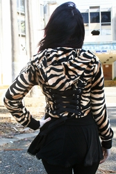 Brown Zebra Cropped Corset Hoodie (OUT OF STOCK)