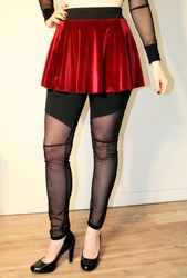 Burgundy Stretch Velvet Circle Skirt