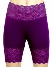 Dark and Light Purple High-Waisted Stretch Lace Shorts