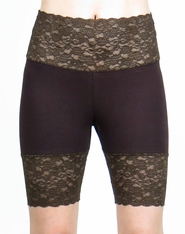 Dark Brown Wide Waistband Stretch Lace Shorts