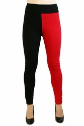 Full Length Red and Black Cotton Harley Quinn Leggings
