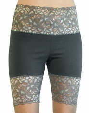 Grey Wide Waistband Stretch Lace Shorts