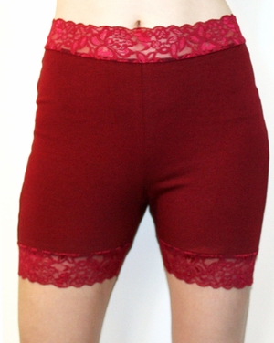 High-Waist Burgundy Stretch Lace Shorts (OUT OF STOCK)